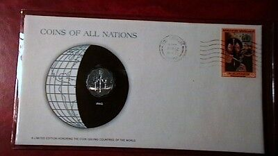 "1975 Iraq 5 Fils coin in a Postmarked Cover! ""Coins of All Nations"" Series!"