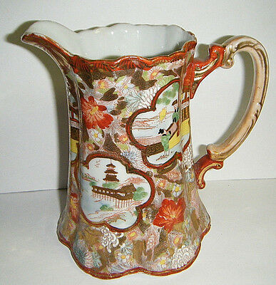 """Pretty Vtg Japanese Kutani Hand Painted Panels 6.5""""h Water Pitcher Gold&red"""