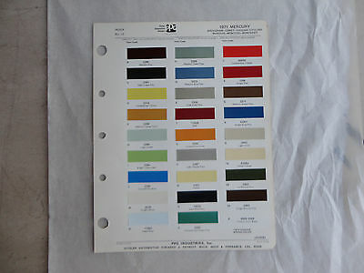 Ditzler paint chip page 1971 Mercury Cougar Monterey Marquis Brougham Cyclone