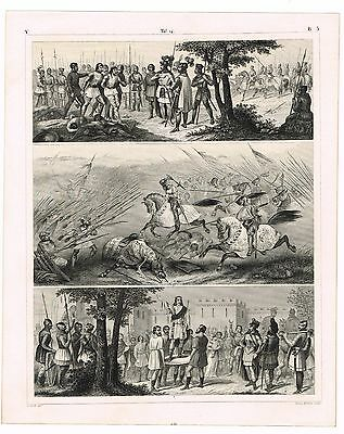 Antique Print Vintage 1851 Engraving Military History Medieval War Scenes Mount