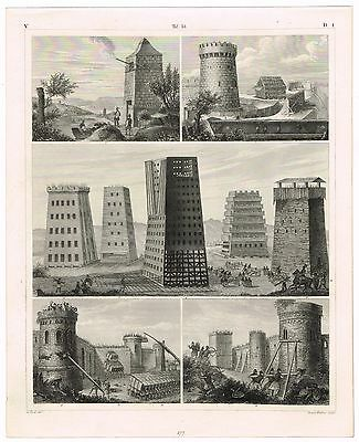 Antique Print Vintage 1851 Engraving Military Medieval Times Structures Engines