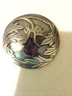 Vintage Mexico Taxco Sterling Silver Amethyst Flower Pin Brooch Pendant