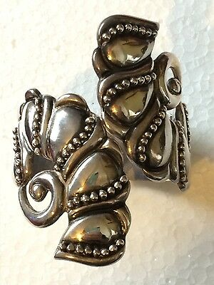 GORGEOUS VINTAGE MEXICO STERLING SILVER HEAVY CLAMPER BRACELET 73g