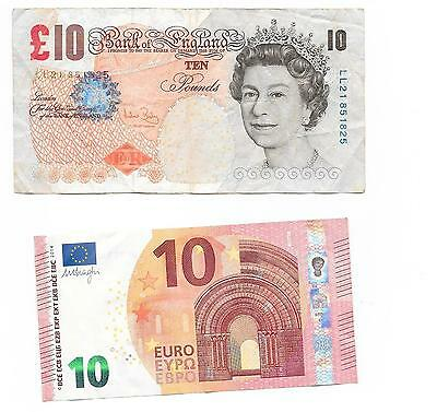 British England Ten 10 Pound Note + Ten Euro Note Real Money Circulated Wow !!!!