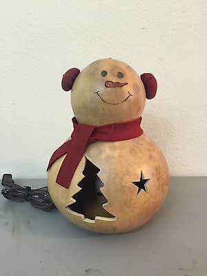 Meadowbrooke Gourds - Christmas Winter Holidays Snowman With Lamp Light Belly!