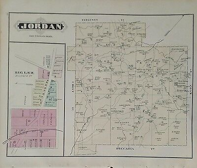 Antique Original1878  Map of Jordan TWP, Clearfield County, Pennsylvania