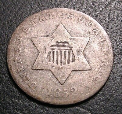 OLD US COINS RARE 1852 OBSOLETE SILVER THREE CENT 3c PIECE