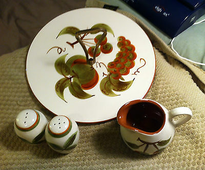 "Vintage Stangl Pottery Set - ""orchard Song"" - Tidbit Tray, Creamer & S&p Shakers"