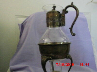 ANTIQUE Silver  and glass carafe with heating stand
