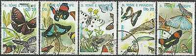 Timbres Papillons St Thomas et Prince 965/9 o lot 18686