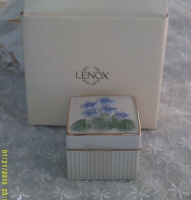 Lenox Trinket or Ring Box with Blue Iris's on the Cover - Gold Gilt Trim