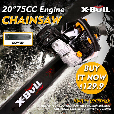 "X-BULL NEW 62cc Petrol Commercial Chainsaw 20"" Bar Chain Saw E-Start Pruning"