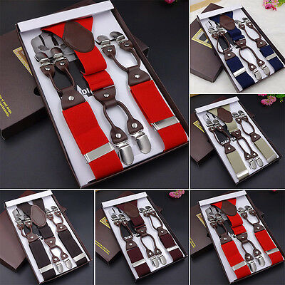 Leather alloy 6 clips male vintage casual suspenders trousers man's braces strap