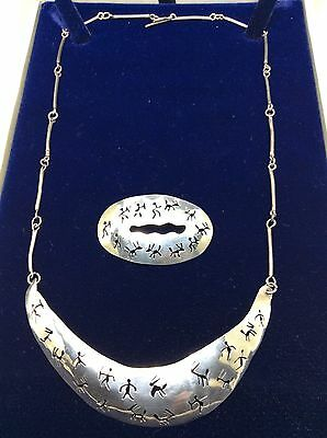 Vintage Hand Beaten Solid silver Navajo Indian Necklace And Brooch Set c1960