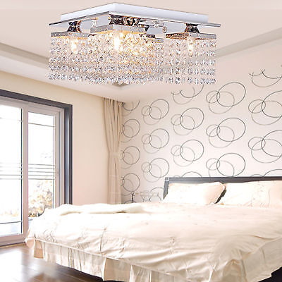 "12"" Square Crystal Pendant Lamp Ceiling Light Fixture Chandelier Indoor Lighting"