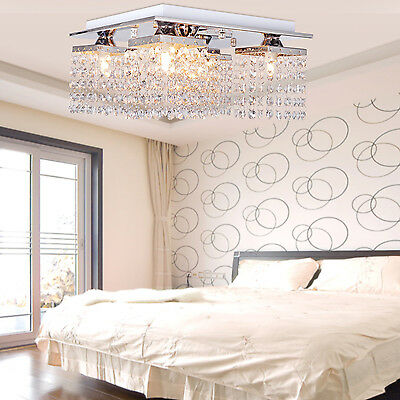 "Modern Square Chandelier 12"" Crystal Pendant Lamp Ceiling Light Fixture Lighting"