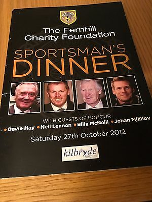 Fernhill Sporting Dinner 2012 Brochure And Menu Celtic Stars Guests Of Honour