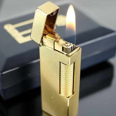 Auth DUNHILL Gas Lighter Small Scale Motif Made in Swiss Gold Plated with Box