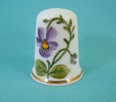 Thimble Porcelain HAND PAINTED Bone China with Violet