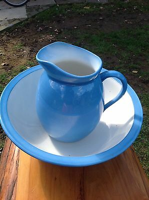 Ceramic Pale Blue Wash Bowl and Jug