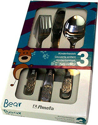 Personalised Childs 3pce Cutlery Set - Bear Design