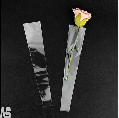 New Clear Cellophane 100X Single Rose Flower Sleeves Gifts Bags Valentines's Day