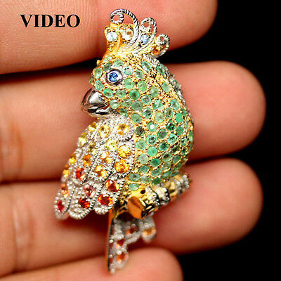 LOVELY! 26 X 40 mm. JEWELRY SZ REAL EMERALD & SAPPHIRE 925 SILVER PARROT BROOCH