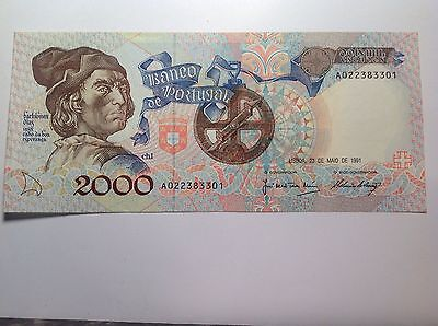 Portugal 2000 Escudos 23.5.1991 About UNC Small Crease on The Back