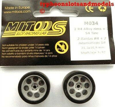 M034 Mitoos Lightweight Drilled Racing Wheels M024 & M004 Racing Tyres x2 - New