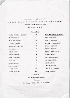 DERBY COUNTY v WEST BROMWICH ALBION RESERVES ~ 27 FEBRUARY 1989