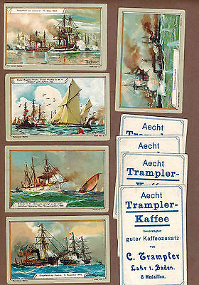 MILITARY: Collection of RARE Victorian TRAMPLER COFFEE Cards from GERMANY (1900)