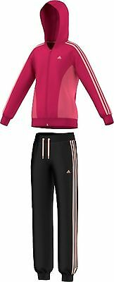 Adidas Basic YG Girls S HD Tracksuit Black Pink Training Sporty New UK 3 Years