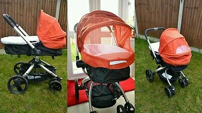 Mothercare Spin Pram and Pushchair Travel System - Orange & Black