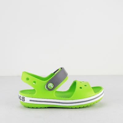 Crocs CROCBAND SANDAL KIDS Boys Girls Touch Fasten Croslite Sandals Green/Smoke