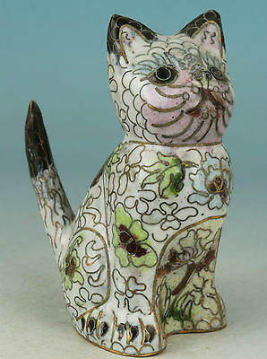 lovely Chinese Old Cloisonne Collection Handmade Carved cat Statue Figure