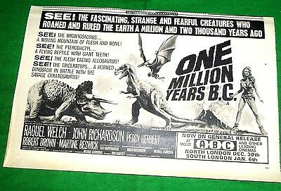 """One Million Years B.c. Movie Advert From A 1966 Magazine  Raquel Welch 10"""" By 6"""""""