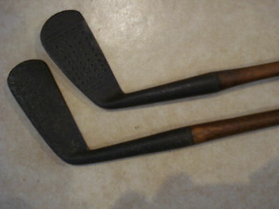 x2 Vintage Golf Clubs Hand Forged Irons Hickory Shafts