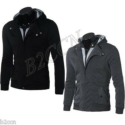 Men's Warm Hoodie Hooded Sweatshirt Sweater Tops Long Sleeve Jacket Coat Outwear
