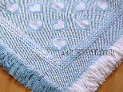 New Bee Bo Baby Boy Blue Blanket Shawl with Fringe - Heart Pattern