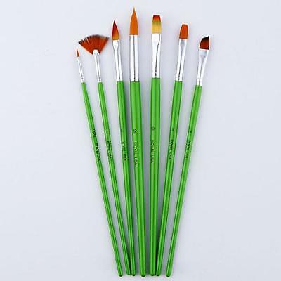7Pcs Artists Paint Brush Set Acrylic Watercolor Round Pointed Tip Nylon Hair