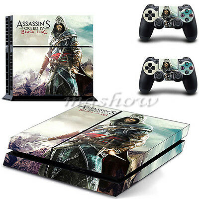 Black Flag Skin Sticker Cover For PS4 Playstation 4 Console Controller Decal