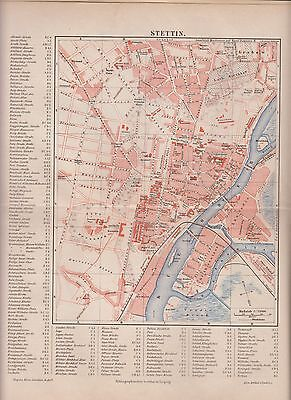 1890 POLAND STETTIN City Plan  Antique Map
