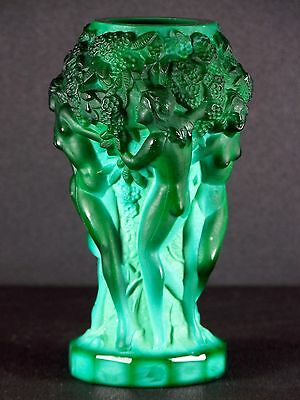 Rare Vase Art Deco Nymphes Glass Verre Malachite Hoffmann Lalique Sabino 1930