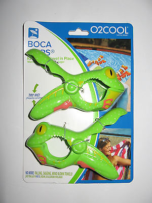 BOCA Clips GREEN TREE FROG Beach Towel Holder 2 Pack Pool Cruise Chair NEW