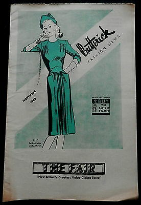 BUTTERICK FASHION NEWS Advertising THE FAIR New Britain Flyer November 1942