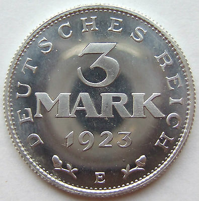 TOP! 3 MARK 1923 E in POLIERTE PLATTE SELTEN !!!