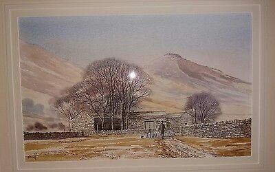 watercolour painting of lake district home stead signed Griff