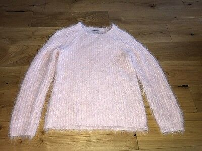 Next Girls Pink Fluffy Jumper Age 7-8 Years