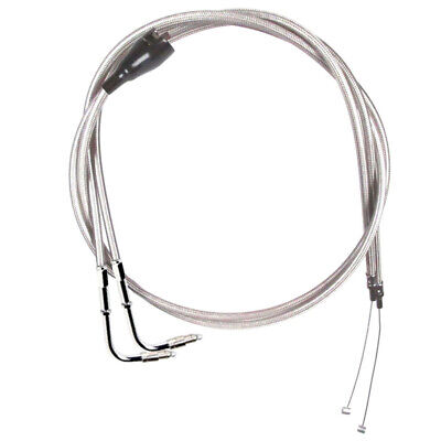 Stainless Braided Throttle Cable Set 1996-2001 Harley Touring Marelli w/Cruise