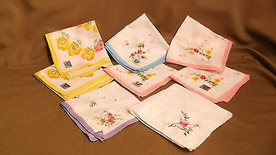Vintage Floral Hanky Handkerchief Lot - Some w/ Original Tags One Embroidered